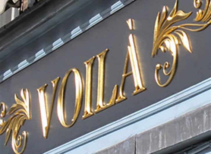 Voila Logo | Gold Leaf Signage
