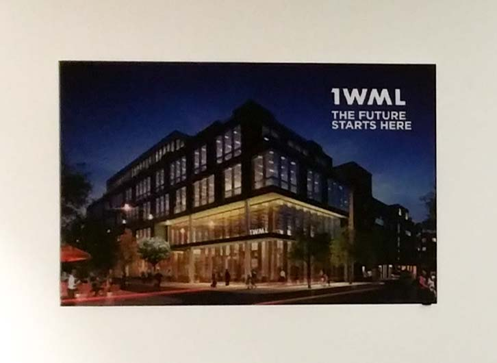 One of a set of textile lightboxes in the marketing suite for the new 1WML office development