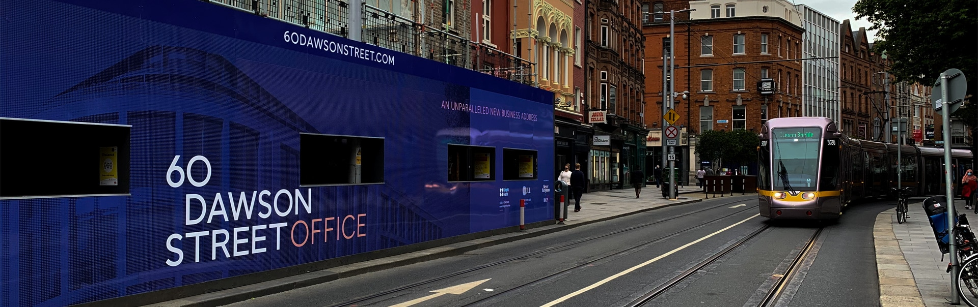 Placemaking hoarding for the new office development at 60 Dawson Street