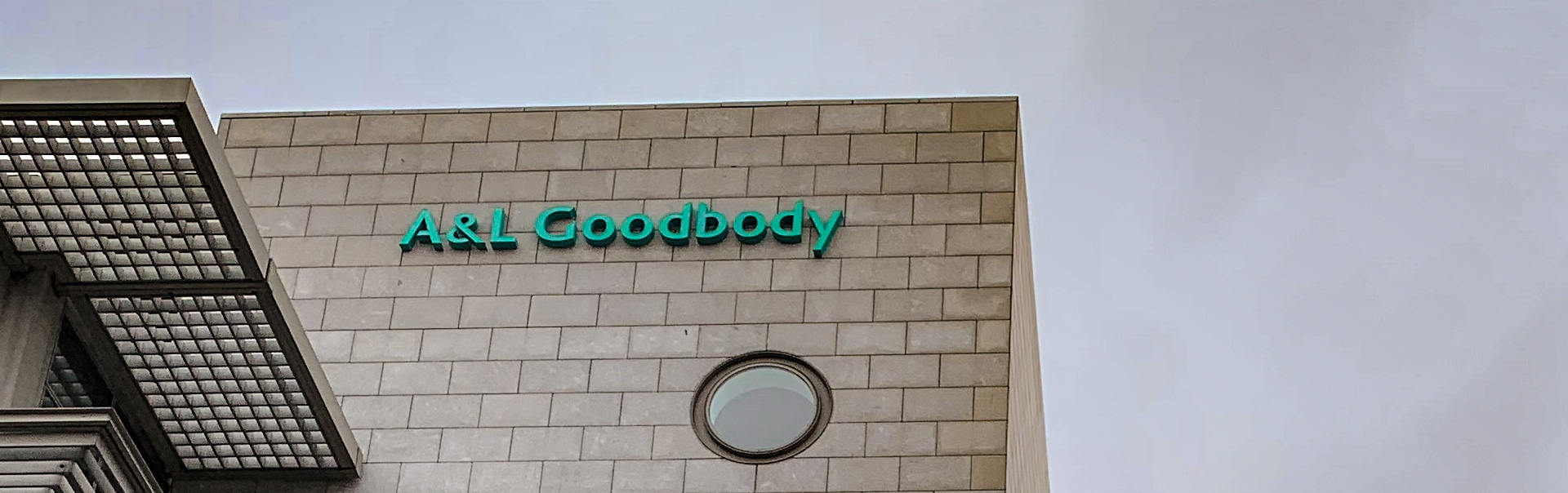 To brand the A&L Goodbody building we used an illuminated sign that is brand green by day and bright white at night.