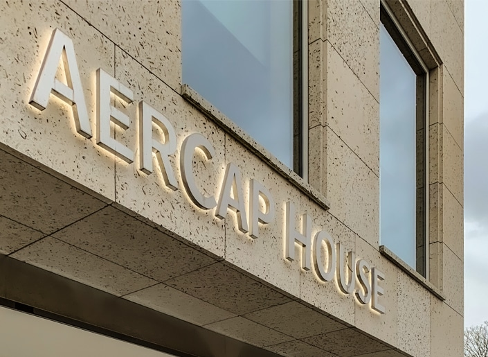 Our halo lit stainless steel sign complements the Portland Stone facade of Aercap House, Dublin