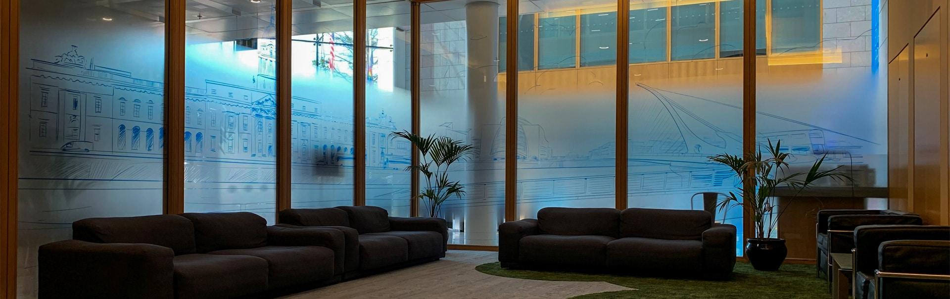 Printed manifestations screen office windows in imaginative ways