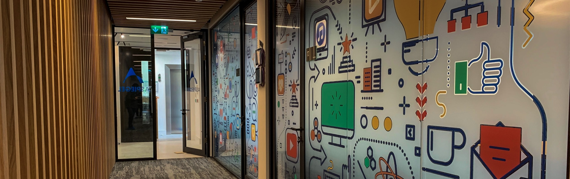 Screen office glass with creative artwork in full colour