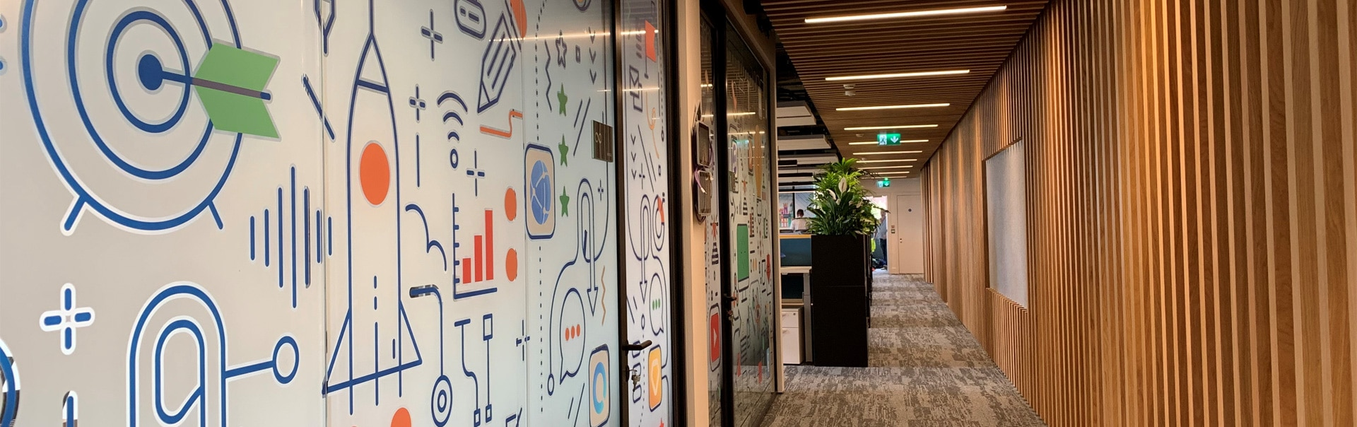 Screen private areas of the office with creative manifestations printed in full colour