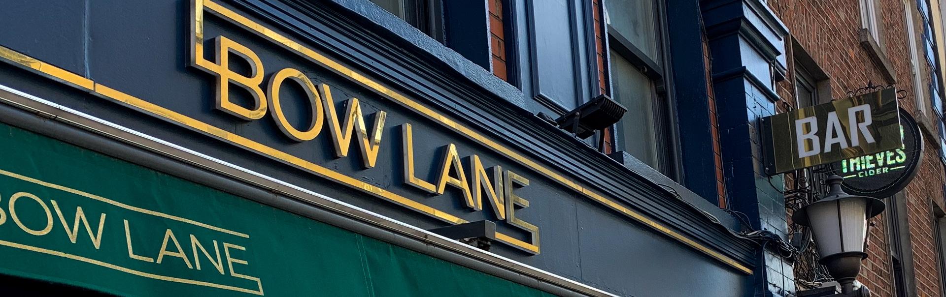 Side-lit storefront-sign at Bow_Lane_cocktail_bar, Dublin