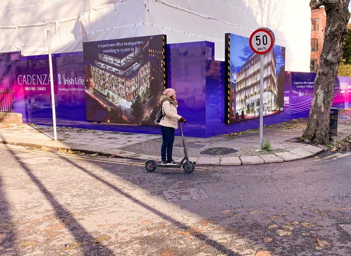 Placemaking hoarding with Flexface lightboxes announces Irish Life's new Cadenza office development