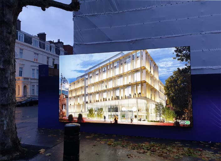 Outdoor lightbox with CGI of Irish Life's new Cadenza office development