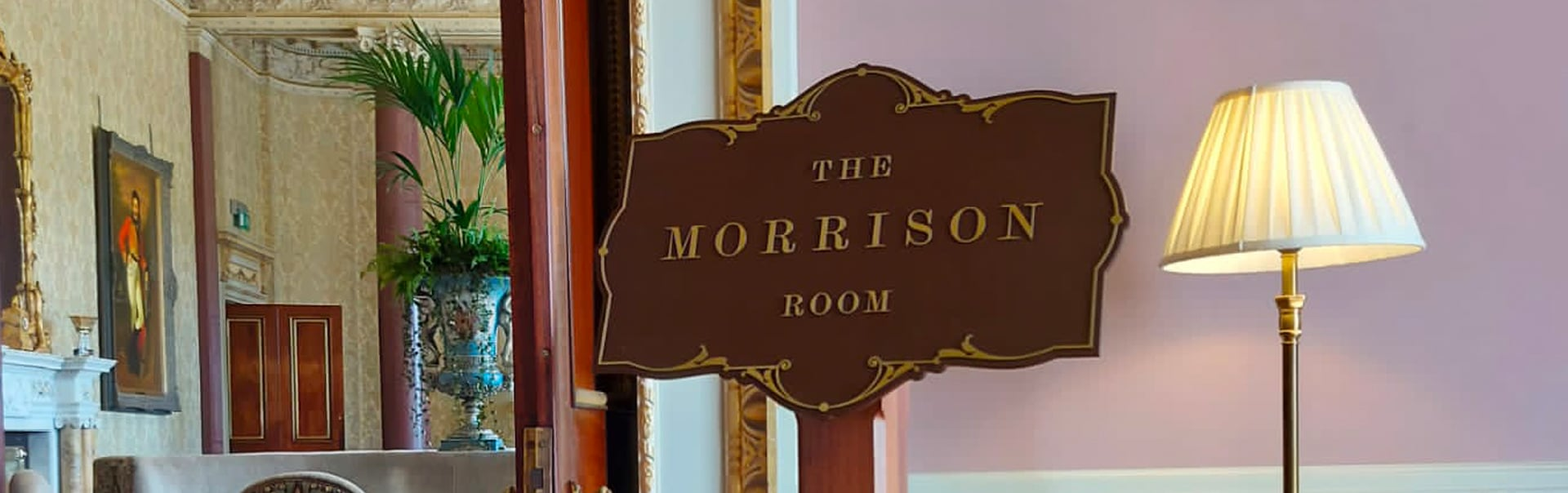 A wayfinding lectern welcomes diners to The Morrison Room at Carton House