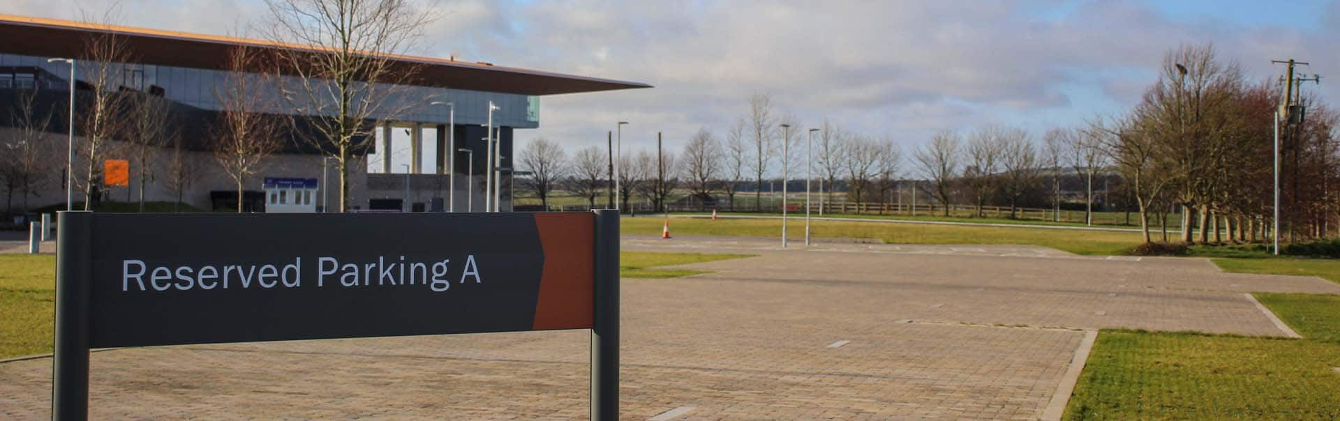 Panel and post wayfinding sign at The Curragh Racecourse car park