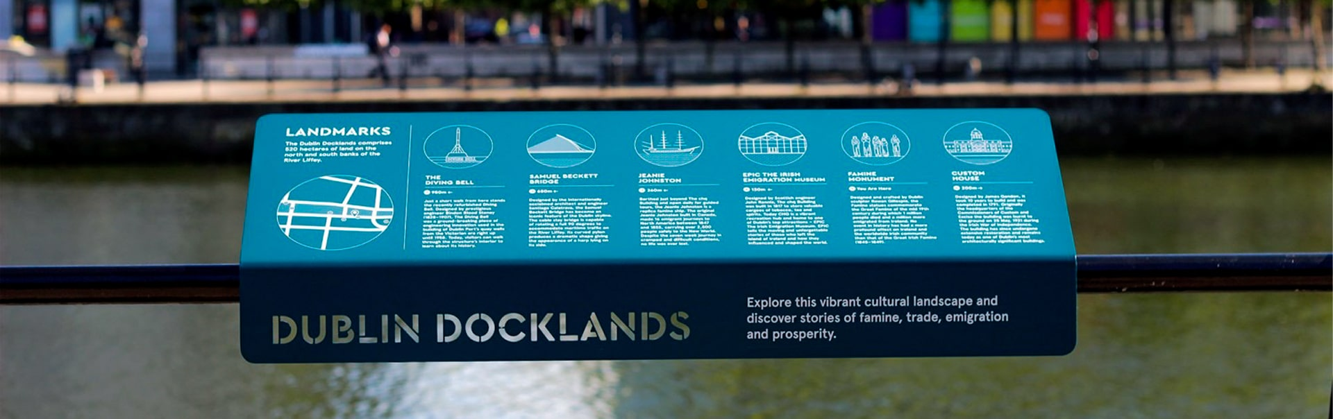 This award-winning Dublin Docklands wayfinding plaque is made by punching, painting and printing aluminium