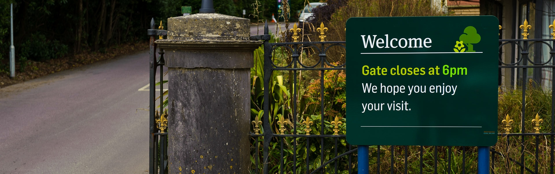 A wayfinding sign welcomes guests to Fota House, one of Ireland's most popular visitor attractions