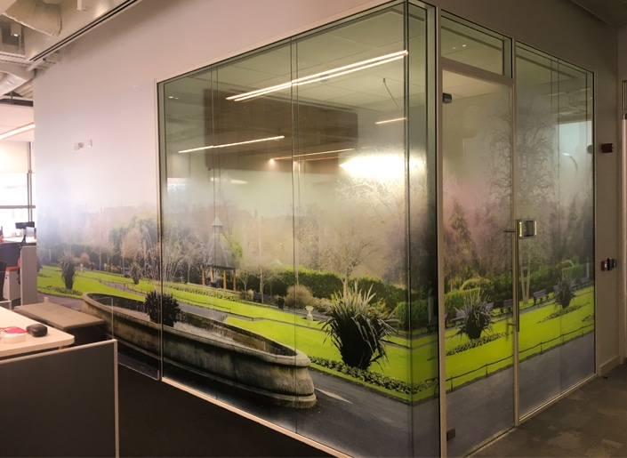 A photo realistic print of St Stephens Green on Optically Clear PET at HubSpot's Dublin Docklands office