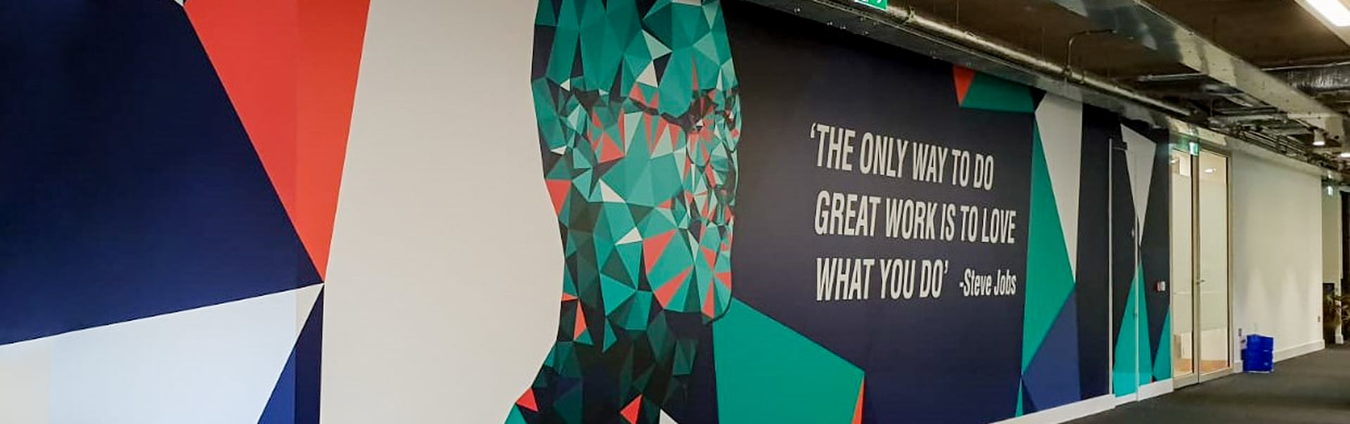 A Steve Jobs supergraphic turns a blank wall into a source of inspiration