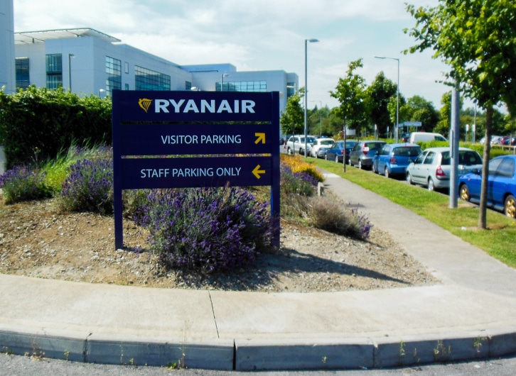 Wayfinding sign at the entrance to the Ryanair HQ car park