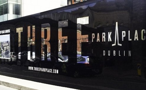 Placemaking hoarding with mirror chrome vinyl letters at Three Park Place Dublin