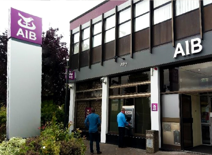 Storefront signage. Part of a nationwide rebrand of AIB bank branches.