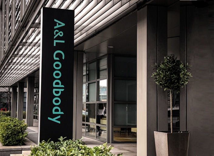 Entrance totem at A&L Goodbody corporate law firm, Dublin