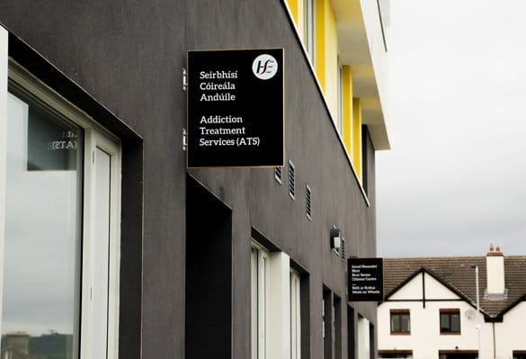 Colour-coded blade signs mark entrance to key services at this award-winning healthcare facility