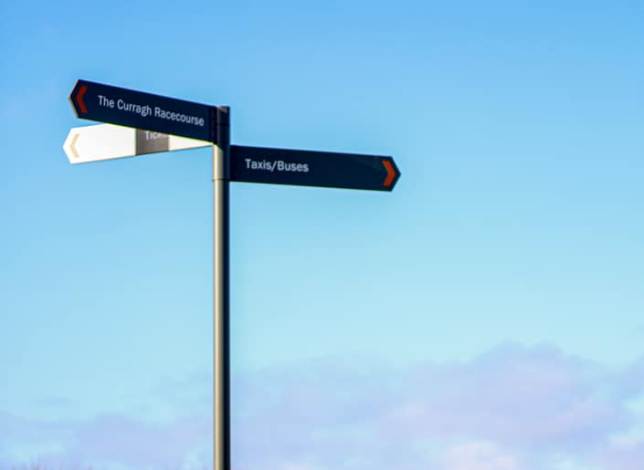 Fingerpost wayfinding sign at The Curragh Racecourse