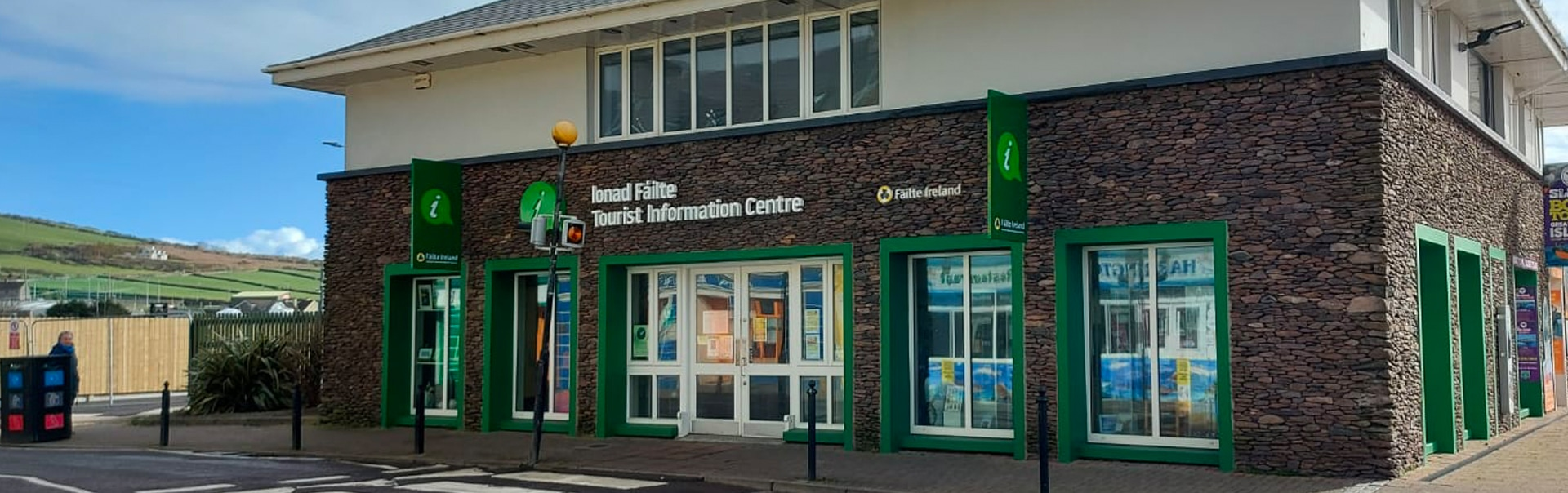 Lettering, lightbox and projecting signs lead visitors to the Failte Ireland office in Dingle, County Kerry.