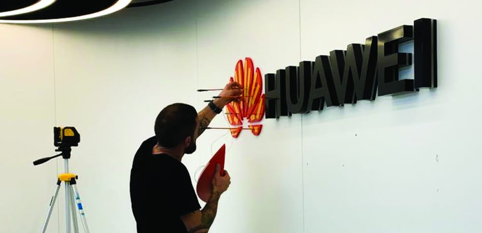 Huawei | Indoor Wall Sign | Sign Fitting