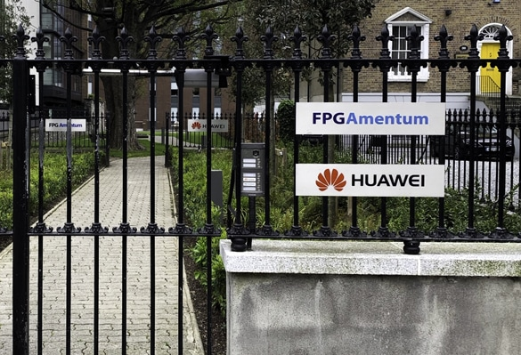Light steel nameplates with colour infills welcome visitors to Huawei's new Dublin offices
