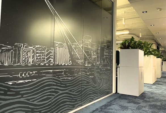 We can print gradients on our optically-clear-PET manifestations so graphics appear to fade into glass