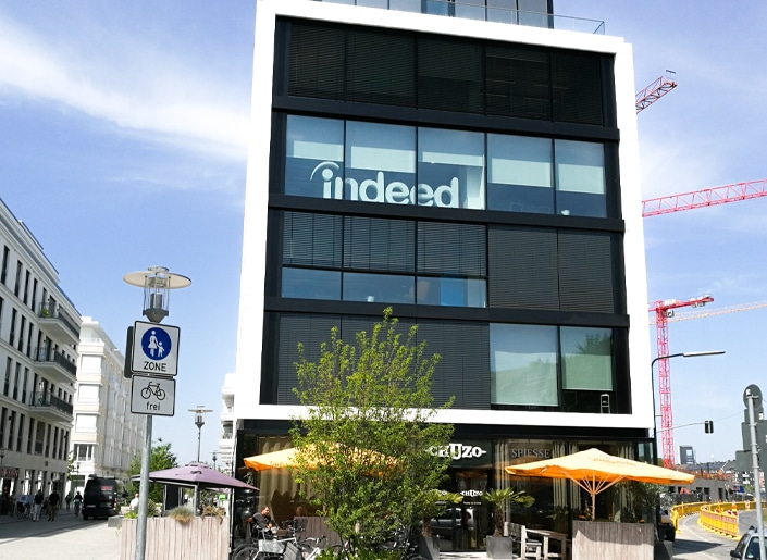 Our illuminated indoor monument sign draws attention to Indeed's offices, day and night