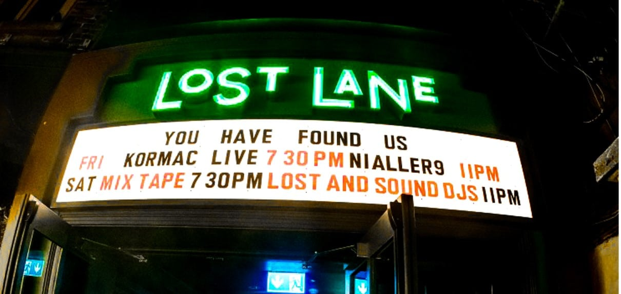 Neon marquee sign at Lost_Lane live music venue, Dublin