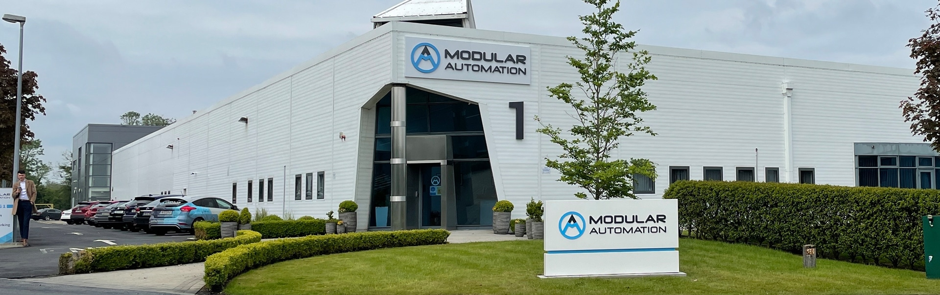 New wayfinding signs identify the main reception at the Modular Automation headquarters