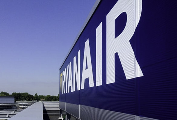 Ryanair supergraphics | Large format vinyl print applied to hangar facade