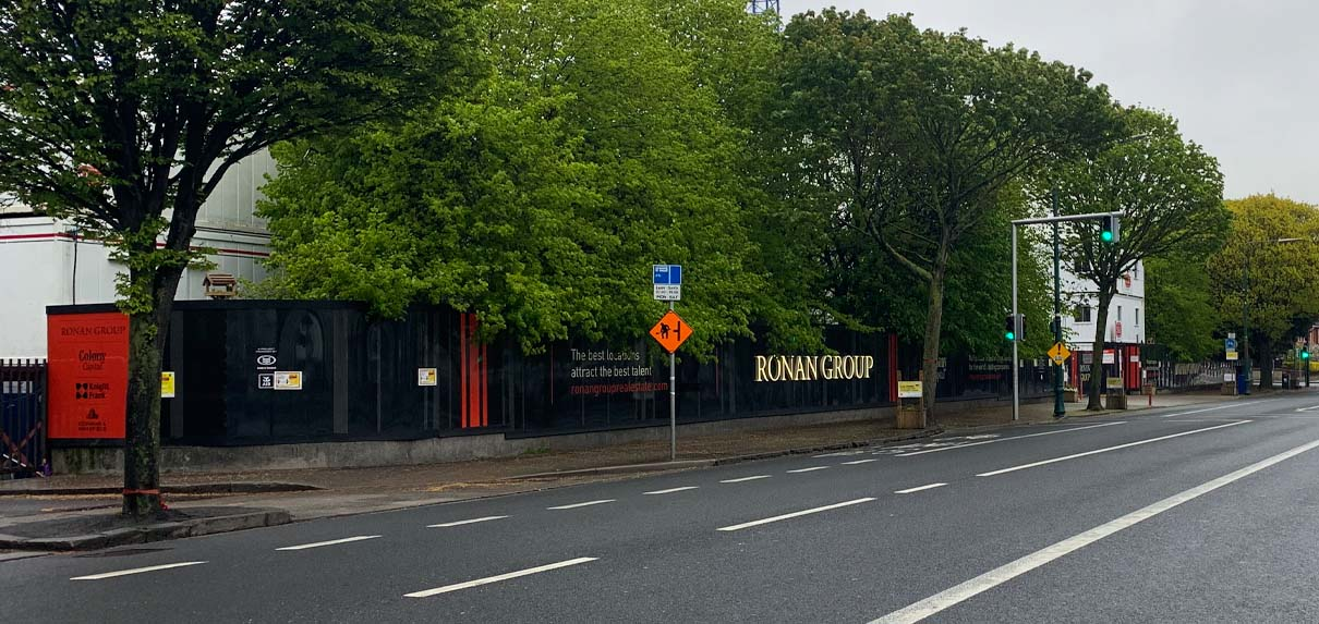 Placemaking hoarding for Ronan Group's new Facebook headquarters development, Dublin 4