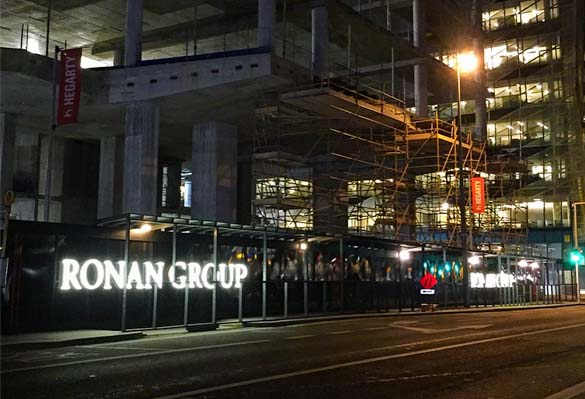 Placemaking hoarding for Ronan Group's Salesforce Tower office development in Dublin Docklands