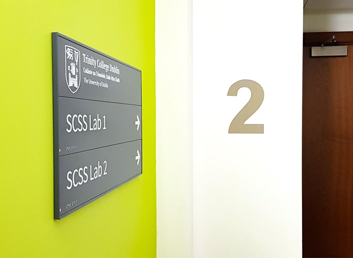 Braille wayfinding sign for Trinity College Dublin