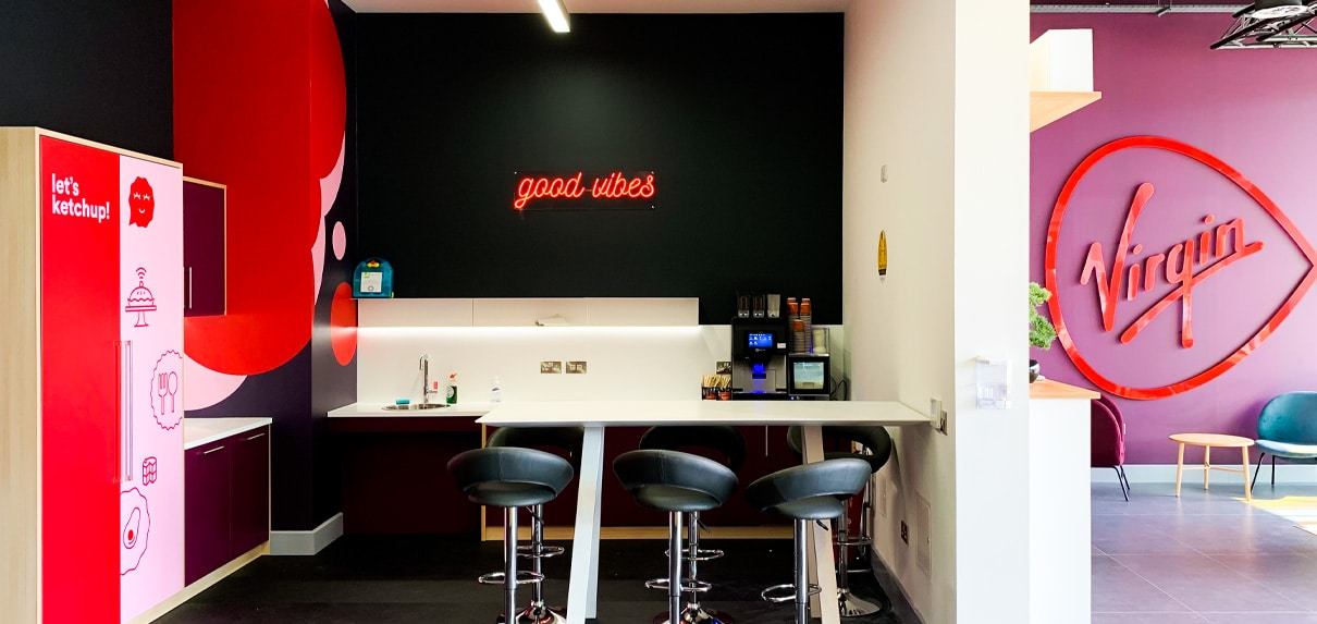 Bold wall vinyls and wall signs energise this new corporate headquarters
