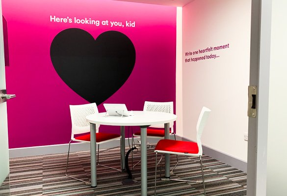 A playful wall mural creates a feelgood atmosphere at work