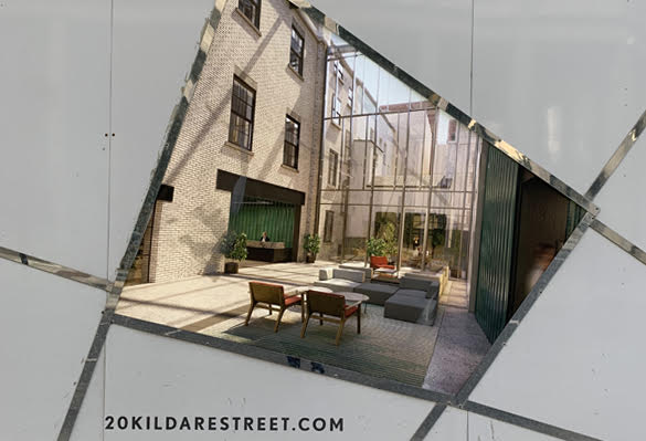 A textile lightbox shows a CGI of the future lobby at 20 Kildare Street