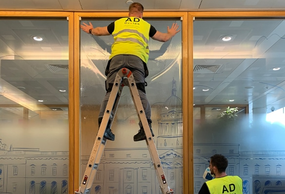 Installing glass manifestations at the head office of Citi Ireland