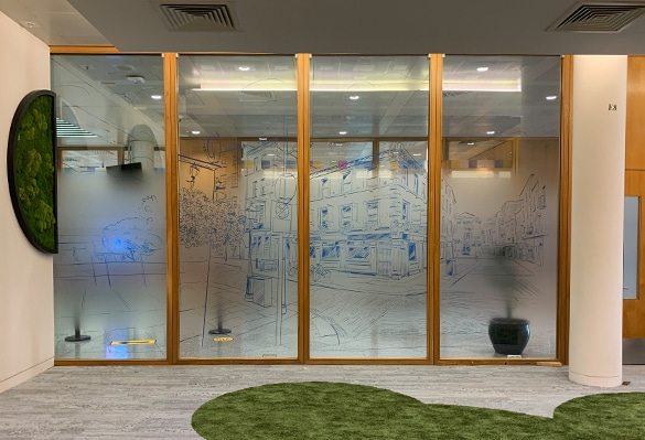 Clear PET glass manifestation with printed fade in white ink