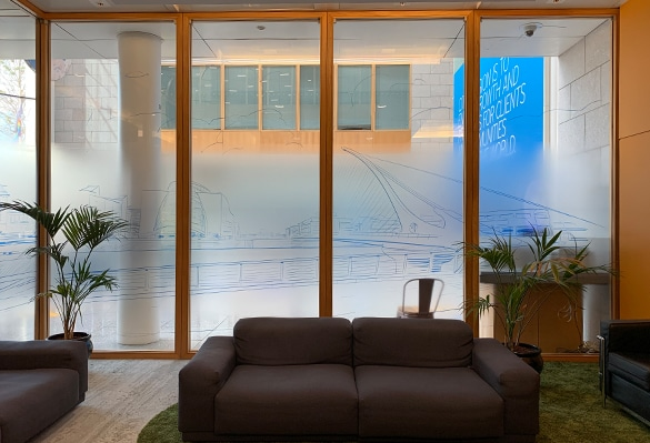Clear PET window manifestations with printed haze effect for privacy screening